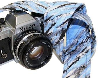 Camera Strap - Blue brushstroke watercolors - SLR, DSLR