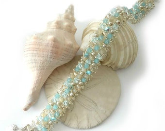 Crystal Beach Bracelet, Aqua, Sand, Silver Seashell Charm, Pearls, Upscale Beach Jewelry, Champagne, Summer Wedding, Made to Order