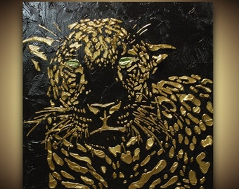 ORIGINAL leopard painting abstract black gold art large cat home decor metallic modern palette knife textured -made to order by susanna