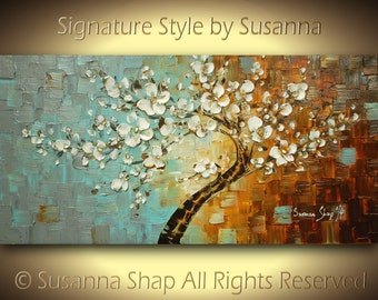 ORIGINAL Tree Painting Abstract Cherry Blossom White Flowers Modern Palette Knife Oil Landscape 48x24 by susanna
