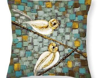 White love birds on a branch Designer Throw Pillows & Covers blue brown sofa couch home decor 14x14 16x16 18x18 20x20 26x26 20x14