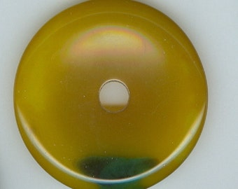 50mm Yellow and Green Agate Gemstone PI Donut Pendant Focal Bead 659