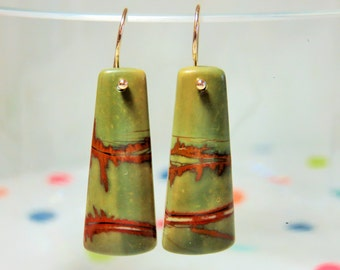 Natural Red Creek Jasper Smooth Rectangle Briolettes, and 14K Solid Yellow Gold earwires