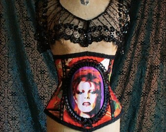Custom Icon Cameo Corset by Louise Black Bowie Prince Cleopatra Etc