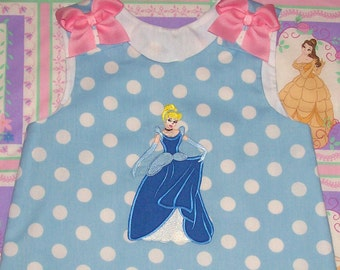 Princess Cinderella wearing Ball Gown Applique Monogram Blue Polka Dot A-line Dress Princess Cinderella birthday party dress  Vacation dress