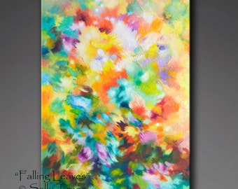 Abstract painting, textured painting, mixed media painting, abstract original, fall landscape