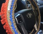 Leopard Fringe Hippie Chic Non-Slip Steering Wheel Cover