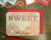 letterpress you're so sweet greeting card layered strawberries peaches and cherries on kraft paper thank you note