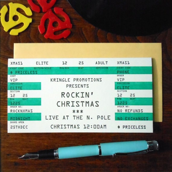 letterpress rockin' christmas concert ticket pack/6 cards kringle north pole musician stage rock ticket card rock and roll