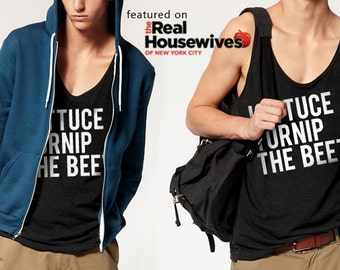SALE lettuce turnip the beet ® trademark brand OFFICIAL SITE - dark grey tank top with logo - seen on Real Housewives of New York