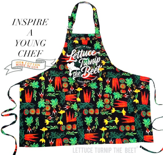 KID APRON lettuce turnip the beet ® trademark brand official site -  vegetable - print - garden - cotton - farmers market -  Made in USA