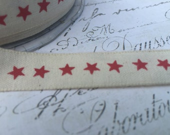 100% Natural Cotton with Red stars 5/8 wide