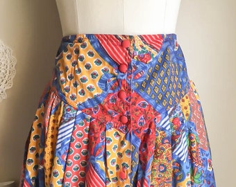 Pretty Vintage 70s Calico Floral Print Patchwork High Waist Long Skirt