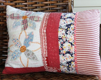 Vintage Quilt & Red Ticking Pillow - Patchwork Pillow - Flowers - Daisy Pillow 12 x 18