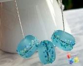 Lampwork Charm Necklace Saltwater Blue