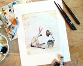 Rabbit listens to old-time music - Art print of an original watercolor painting by Leontine Greenberg