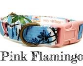 """Blue Tropical Tropics Hawaiian Hawaii Pink Flamingo Dog Collar - Organic Cotton - Antique Brass Hardware - """"Pink Flamingo"""""""