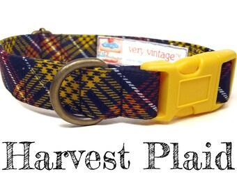 "Black Yellow Orange Brown White Plaid Dog Collar - Organic Cotton Dog Collar - All Antique Brass Hardware - ""Harvest Plaid"""