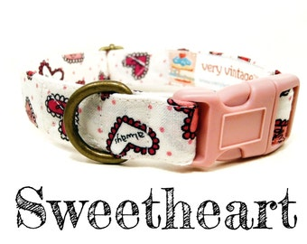 "LAST ONES White Pink Multicolor Hearts Girl Vintage Dog Collar - Organic Cotton - Antique Brass Hardware - ""Sweetheart"""
