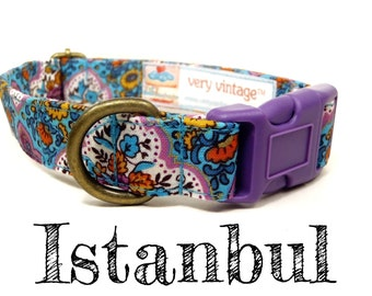 "Teal Blue Vintage Bohemian Dog Collar - Floral Dog Collar - Middle Eastern Dog Collar - Antique Brass Hardware - ""Istanbul"""