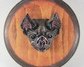 Mounted Vampire Bat Head Resin
