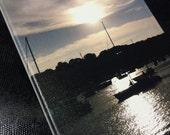 Huntington sunset with boat