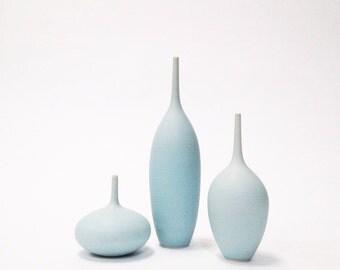 MADE TO ORDER - 3 medium stoneware bottle vases in ice blue matte by sara paloma.  Light blue ceramics and pottery bud vase palomas