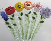 Reserved Listing for Bolt Support Fused Glass Plant Stakes and Garden Stakes (Pink Flower)