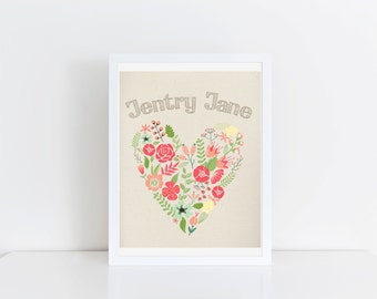Customized Name & Floral Heart