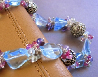 SALE Blue Skies and Bouquets Necklace