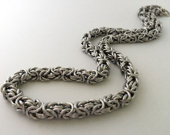 Unisex Byzantine Chainmaille Necklace Handmade