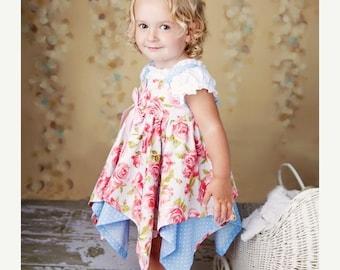 30% OFF PDF Pattern - Girls Dress Pattern - Handkerchief Hem Dress