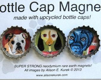 Funny Dog Magnets - Bottle Cap Magnets - Gift Set - Bull Dog - Hound Dog - Blue Black Labrador Retriever - Gift for Dog Lover - Dog Gift