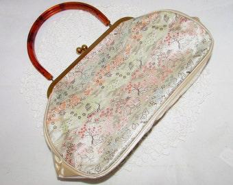 Unusual Vintage Clear Vinyl Purse Over Asian Print Satin with Amber Acrylic handle, 60s, handbag, accessory