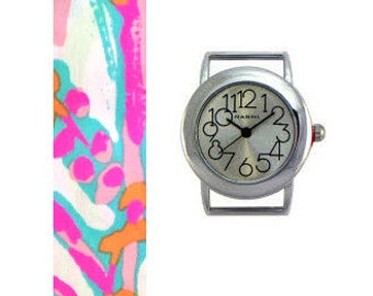 2015 Lilly Pulitzer Scuba to Cuba Fabric Wrist Band with or without Silver Watch Face