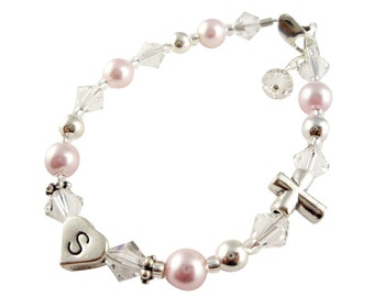 RUSH - 2 DAY- Choose colors Baptism Bracelet, Christening Bracelet, First Communion, Cross Jewelry for Girl, baby