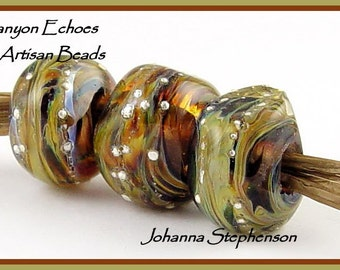 BIG HOLE by Canyon Echoes Silvered Earth Tone Lampwork Beads