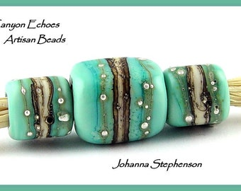 BIG HOLE Silvered Ivory and Turquoise Lampwork Bead Set by Canyon Echoes