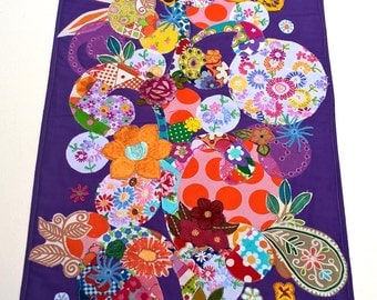 Vibrant Flora!  A stunning textile art original wall hanging in bright colours, flowers, quilt art.