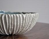 DISCOUNTED-  Extra Large Scallop Bowl Denim Blue Crackle- Ceramic Serving Bowl fruit bowl
