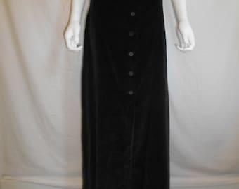 70's Black Velvet Skirt, Button Down Skirt NWT