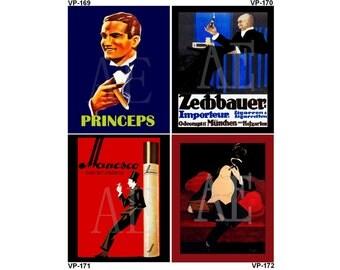 VP169-172 Vintage Poster Art - One 8x10 or Two 5x7s - Cigars & Cigarettes, Princeps, Zechbauer Tobacco, Manesco, Cappiello Distil Cigar