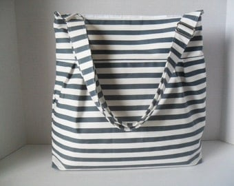 Diaper Bag Large in Denim and White Stripe Fabric with Adjustable Strap - Messenger Bag - Diaper Bag - Monogramming Available - Nautical Bag