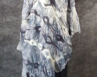 Nuno felted  grey white silk wool poncho