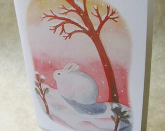 5 x 7 Notecard - A035 SNOWSHOE AT SUNSET // winter card / holiday card / snow / hare / rabbit / seasonal / sunset / watercolor