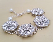 Bridal Bracelet Rhinestones, Wedding Bracelet Jewelry for bride, Crystal Statement bracelet Wedding Jewelry,bridesmaids Bridal Jewelry