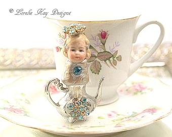 Michelle Teapot Art Doll  Original Art Doll Assemblage Tiny Teapot Mixed Media Doll Sculpture