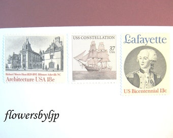 Wedding Postage Stamps, Vintage Sailing Ship, Lafayette, Architecture, Black White, Mail 20 Invitations 2 oz 68 cents, masculine postage