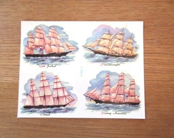 Vintage decals, Meyercord decals, boat decals, ship decals, image transfers, sailing ships