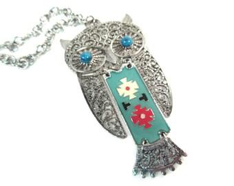 Vintage southwestern owl pendant necklace, silver owl necklace, tribal owl, large owl necklace